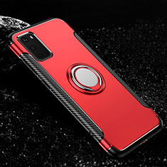 Silicone Matte Finish and Plastic Back Cover Case with Magnetic Finger Ring Stand R04 for Samsung Galaxy S20 5G Red