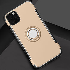 Silicone Matte Finish and Plastic Back Cover Case with Magnetic Finger Ring Stand S01 for Apple iPhone 11 Pro Gold