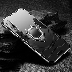 Silicone Matte Finish and Plastic Back Cover Case with Magnetic Finger Ring Stand S01 for Huawei Honor 9X Black