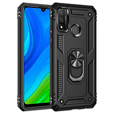 Silicone Matte Finish and Plastic Back Cover Case with Magnetic Finger Ring Stand S01 for Huawei P Smart (2020) Black