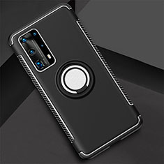 Silicone Matte Finish and Plastic Back Cover Case with Magnetic Finger Ring Stand S01 for Huawei P40 Pro+ Plus Black