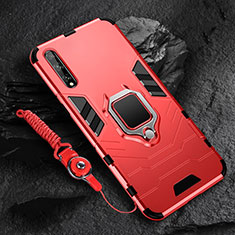 Silicone Matte Finish and Plastic Back Cover Case with Magnetic Finger Ring Stand S01 for Huawei Y8p Red