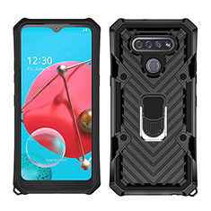 Silicone Matte Finish and Plastic Back Cover Case with Magnetic Finger Ring Stand S01 for LG K51 Black