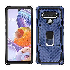 Silicone Matte Finish and Plastic Back Cover Case with Magnetic Finger Ring Stand S01 for LG Stylo 6 Blue