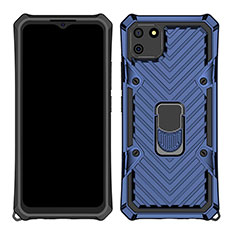 Silicone Matte Finish and Plastic Back Cover Case with Magnetic Finger Ring Stand S01 for Realme C11 Blue