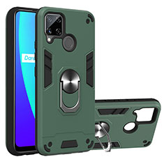 Silicone Matte Finish and Plastic Back Cover Case with Magnetic Finger Ring Stand S01 for Realme C15 Midnight Green