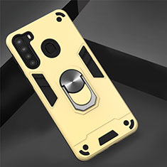 Silicone Matte Finish and Plastic Back Cover Case with Magnetic Finger Ring Stand S01 for Samsung Galaxy A21 Gold