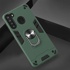 Silicone Matte Finish and Plastic Back Cover Case with Magnetic Finger Ring Stand S01 for Samsung Galaxy A21 Green