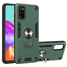 Silicone Matte Finish and Plastic Back Cover Case with Magnetic Finger Ring Stand S01 for Samsung Galaxy A41 Green