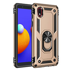 Silicone Matte Finish and Plastic Back Cover Case with Magnetic Finger Ring Stand S01 for Samsung Galaxy M01 Core Gold