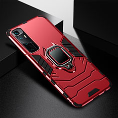 Silicone Matte Finish and Plastic Back Cover Case with Magnetic Finger Ring Stand S01 for Xiaomi Mi 10 Ultra Red