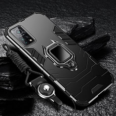 Silicone Matte Finish and Plastic Back Cover Case with Magnetic Finger Ring Stand S01 for Xiaomi Mi 10T 5G Black