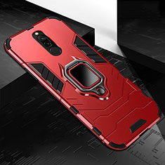 Silicone Matte Finish and Plastic Back Cover Case with Magnetic Finger Ring Stand S01 for Xiaomi Redmi 8 Red