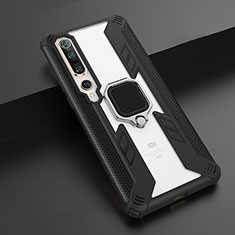 Silicone Matte Finish and Plastic Back Cover Case with Magnetic Finger Ring Stand S02 for Xiaomi Mi 10 Pro Black