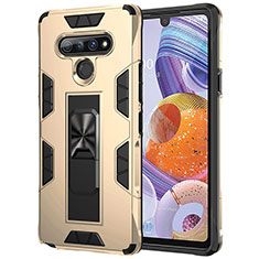 Silicone Matte Finish and Plastic Back Cover Case with Magnetic Finger Ring Stand S03 for LG Stylo 6 Gold