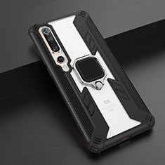 Silicone Matte Finish and Plastic Back Cover Case with Magnetic Finger Ring Stand S03 for Xiaomi Mi 10 Black