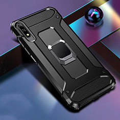 Silicone Matte Finish and Plastic Back Cover Case with Magnetic Finger Ring Stand S04 for Huawei Honor 9X Black