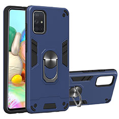 Silicone Matte Finish and Plastic Back Cover Case with Magnetic Finger Ring Stand S05 for Samsung Galaxy A71 5G Blue