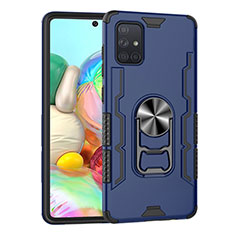 Silicone Matte Finish and Plastic Back Cover Case with Magnetic Finger Ring Stand S06 for Samsung Galaxy A71 5G Blue