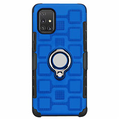 Silicone Matte Finish and Plastic Back Cover Case with Magnetic Finger Ring Stand S07 for Samsung Galaxy A71 5G Sky Blue