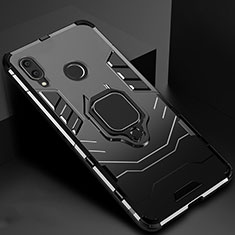 Silicone Matte Finish and Plastic Back Cover Case with Magnetic Finger Ring Stand Z01 for Xiaomi Redmi 7 Black