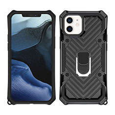 Silicone Matte Finish and Plastic Back Cover Case with Magnetic Stand A01 for Apple iPhone 12 Mini Black
