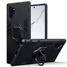 Silicone Matte Finish and Plastic Back Cover Case with Magnetic Stand A03 for Samsung Galaxy Note 10 Plus Black