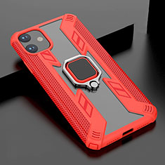 Silicone Matte Finish and Plastic Back Cover Case with Magnetic Stand for Apple iPhone 11 Red