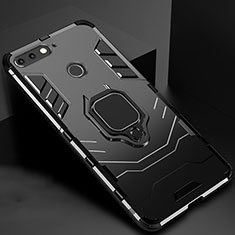 Silicone Matte Finish and Plastic Back Cover Case with Magnetic Stand for Huawei Enjoy 8e Black
