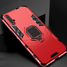Silicone Matte Finish and Plastic Back Cover Case with Magnetic Stand for Huawei Honor 20 Red