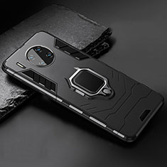 Silicone Matte Finish and Plastic Back Cover Case with Magnetic Stand for Huawei Mate 30 Pro 5G Black