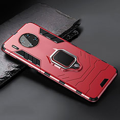Silicone Matte Finish and Plastic Back Cover Case with Magnetic Stand for Huawei Mate 30 Pro 5G Red