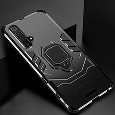 Silicone Matte Finish and Plastic Back Cover Case with Magnetic Stand for Realme X50m 5G Black