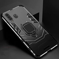 Silicone Matte Finish and Plastic Back Cover Case with Magnetic Stand for Samsung Galaxy A60 Black