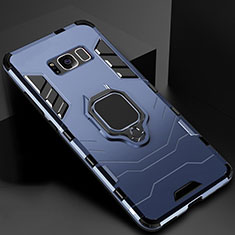 Silicone Matte Finish and Plastic Back Cover Case with Magnetic Stand for Samsung Galaxy S8 Blue