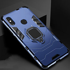 Silicone Matte Finish and Plastic Back Cover Case with Magnetic Stand for Xiaomi Redmi 6 Pro Blue