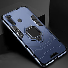 Silicone Matte Finish and Plastic Back Cover Case with Magnetic Stand for Xiaomi Redmi Note 8 Blue