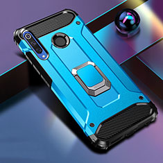 Silicone Matte Finish and Plastic Back Cover Case with Magnetic Stand K01 for Huawei Honor 20 Lite Blue