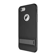 Silicone Matte Finish and Plastic Back Cover Case with Stand A01 for Apple iPhone 8 Black