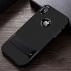 Silicone Matte Finish and Plastic Back Cover Case with Stand A01 for Apple iPhone X Black