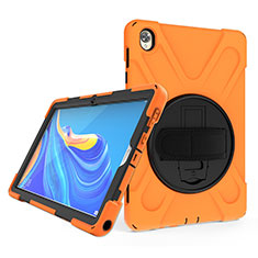Silicone Matte Finish and Plastic Back Cover Case with Stand A01 for Huawei MatePad 10.8 Orange