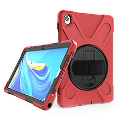 Silicone Matte Finish and Plastic Back Cover Case with Stand A01 for Huawei MatePad 10.8 Red