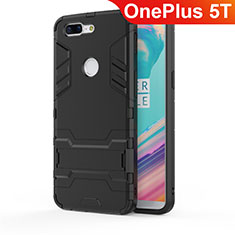 Silicone Matte Finish and Plastic Back Cover Case with Stand A01 for OnePlus 5T A5010 Black