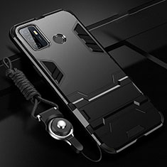 Silicone Matte Finish and Plastic Back Cover Case with Stand A01 for Oppo A32 Black