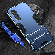 Silicone Matte Finish and Plastic Back Cover Case with Stand A01 for Realme 6 Blue