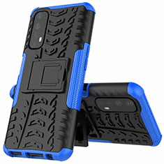 Silicone Matte Finish and Plastic Back Cover Case with Stand A01 for Realme 7 Blue