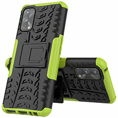 Silicone Matte Finish and Plastic Back Cover Case with Stand A01 for Realme 7 Pro Green