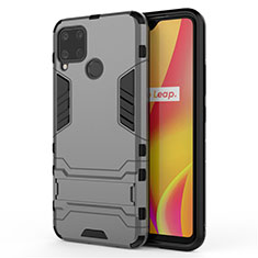 Silicone Matte Finish and Plastic Back Cover Case with Stand A01 for Realme C15 Gray