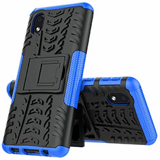 Silicone Matte Finish and Plastic Back Cover Case with Stand A01 for Samsung Galaxy A01 Core Blue