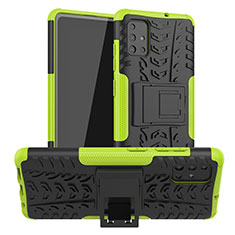 Silicone Matte Finish and Plastic Back Cover Case with Stand A01 for Samsung Galaxy A51 5G Green
